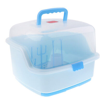 Baby Bottle Drying Rack and Dishwasher Storage Box with Waterproof Lid Blue