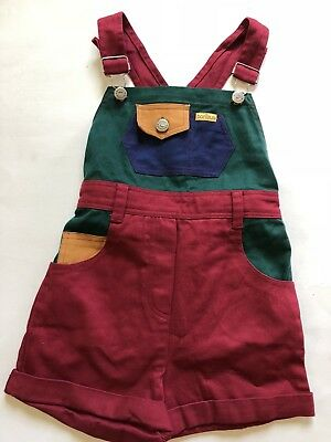 Bonjour Vintage Color Block Denim Overall Shortalls Red Blue Green 5 / 6 Kids
