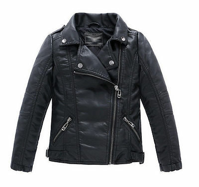 New Children Girls Coats And Jackets Boys Leather Casual Turn-down Collar Jacket