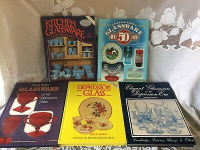 Lot of 5 Collectors Books w/Price Guide Depression Era Glass By Gene Florence