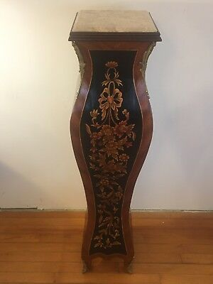 Vintage French Inlaid Marble Top Pedestal