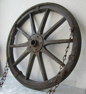 """20"""" antique Vintage wood / Metal Barrow Wagon Wheel >>  with 4 chains"""