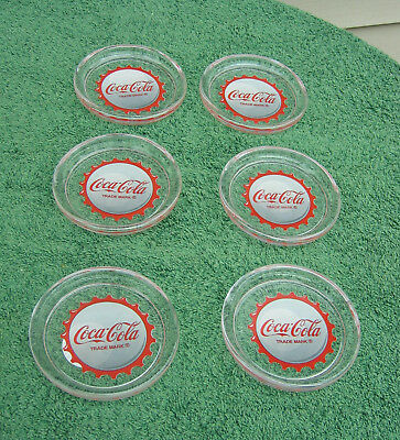 Vintage Glass Coke Coca Cola Coasters -Set Of 6