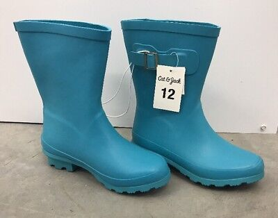Cat & Jack  Toddler Girls Tall Buckle Matte Rain Boots, Turquoise, Size 12