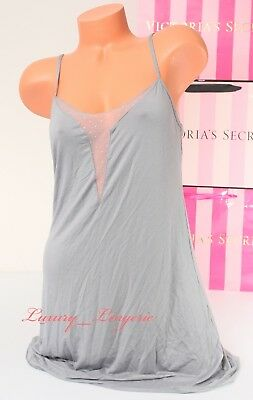 NWT VICTORIA'S SECRET VS Lingerie Sleep Babydoll Chemise Mesh M Medium Gray