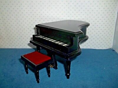 Grand Piano With Stool - Black - Doll House Miniature