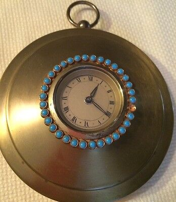 Wall Clock Polished Brass Turquoise Stones  decor Made in Germany Vintage *