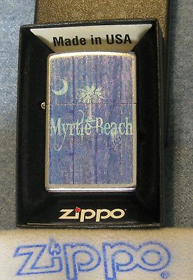 ZIPPO  MYRTLE BEACH SC Lighter VINTAGE Distressed Look PALMETTO & MOON  Mint NOS