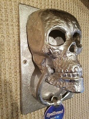 New Cast Iron Skull Gothic Silver Door Knocker Decor Towel Holder HALLOWEEN