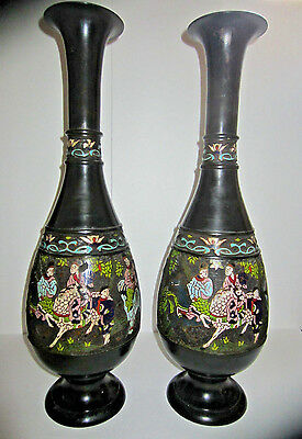 "Pair Of X Large 23""H Oriental Asian Palace Patinated Bronze Cloisonne Vases"