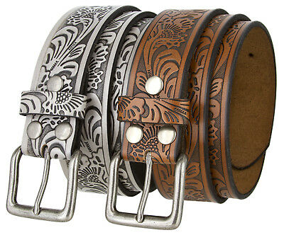 Western Embossed Tooled Genuine Leather Belt with Silver-finish buckle 1.5""