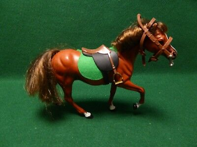 1988 CC Marchon Horse Brown and White With Saddle, Blanket And Bridle.