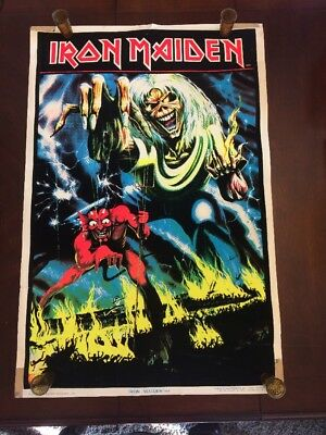 Iron Maiden Posters Lot Of 2 1983 BLACK LIGHT FELT 802 And 1984 The Trooper