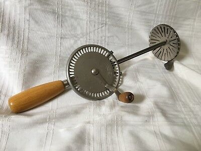 Vintage Whippit A&J EKCO Fancy Hand Held Egg Beater Mixer Primitive Metal Wood