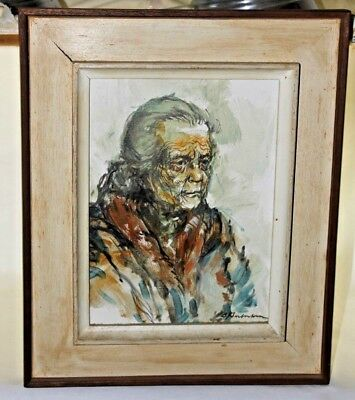 Original Acrylic Canvas Painting. Elderly Woman, Signed, Framed, Unknown Artist