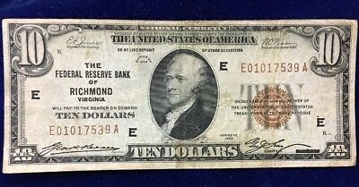 1929 Federal Reserve Bank Of Richmond, VA $10 National Currency Note
