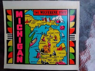 Vintage MICHIGAN State Travel Decal Authentic 1950s Souvenir RV Luggage Camper