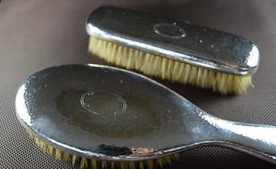 Tiffany Brush and Cloth Set Sterling Silver Vintage Hammered Circa 1907-47
