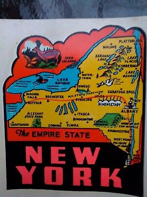 Vintage NEW YORK State Travel Decal  Authentic 1950s Souvenir Luggage RV Camper