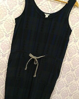Woolrich Organic Cotton Womens Jumpsuit Size 10 Blue Aztec Sleeveless Overalls