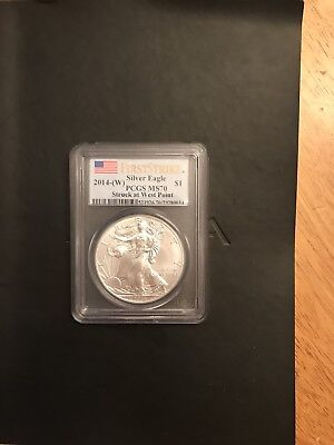 2014-W First Strike Silver Eagle PCGS MS70 Struck at West Point 1oz