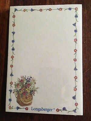 """Longaberger 4"""" x 6"""" Note Pad with Basket and Flowers Design New in Wrapper"""