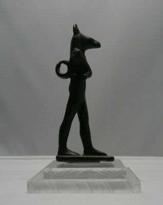 Ancient Egyptian Bronze Anubis Late period 600-300BC Rare.