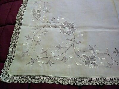 Appenzell / Madeira, Filet Lace, Punchwork, Embroidered 44 inch Tablecloth