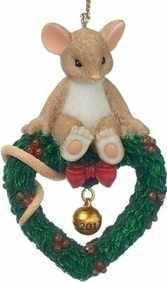 Charming Tails Mouse Sitting on Heart Wreath With 2017 Dated Bell Ornament