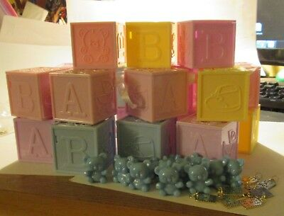 It's a Boy Baby Shower Plastic Blocks, Bears and Metal Charms Lot of 19 Blocks