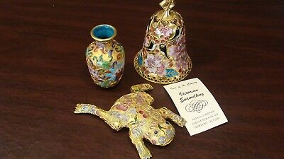 3 Beautiful Victorian Enamelling Treasures FROG, BELL & Small VASE