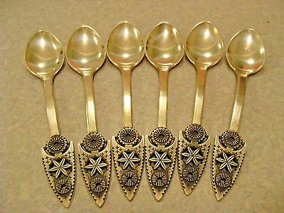 ANTIQUE SOVIET RUSSIAN SET of 6 SILVER 916 TEA SPOONS Very Beautiful