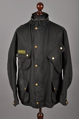 Men's BARBOUR International Suit Waxed Cotton Black Biker Jacket Coat C50 2XL