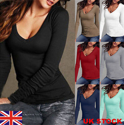 UK Women Long Sleeve Casual T-Shirt Ladies V-neck Slim Tee Tops Blouse Size 6-18