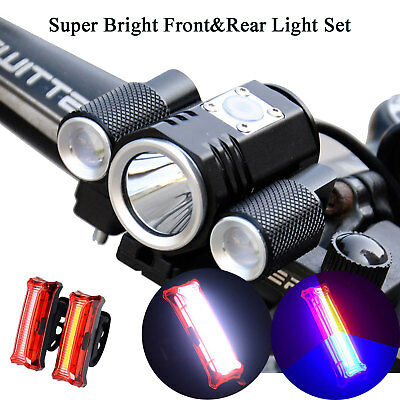 Bicycle Bike Front Rear Lights Set T6 LED Headlight & USB Taillight Combinations