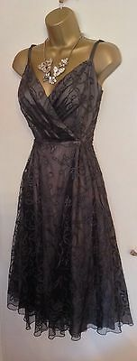 COAST Black Strappy Semi Fitted Evening Mother Bride Party Prom Dress Uk 10