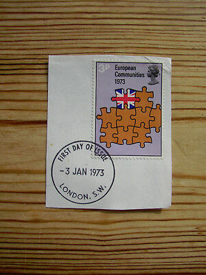 3p Stamp UK entry to EEC European Communities First day of issue 3 Jan 1973 GB