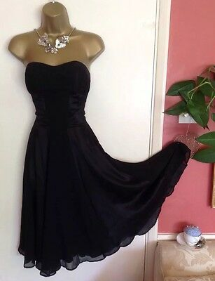 NWOT WAREHOUSE Silk Semi Fitted Black Wedding Evening Party Dress S 10