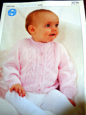 Sirdar 3576 Vintage Baby Knitting Pattern Classic Cardigan 4 Ply 18