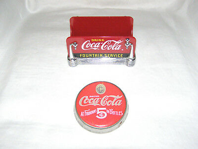 "Vtg Rare Coca-Cola ""Fountain Service"" Sugar Caddy/napkin Holder + Metal Coaster"