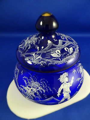 Lovely Czech Cobalt Blue Glass Mary Gregory Covered Bonbon Dish Jar