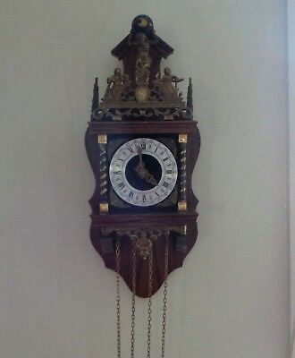 Vintage Dutch Wall Clock with Franz Hermle Movement. Not Working