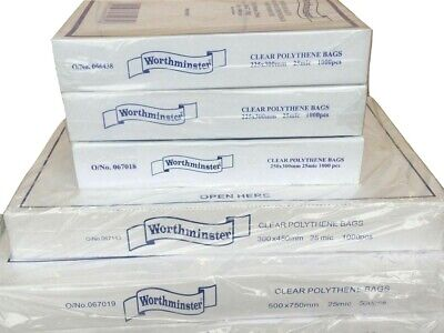 """WORTHMINSTER"" Clear Plastic Food Use 100G Poly Boxed Bags Sandwich~Snack~Craft~"