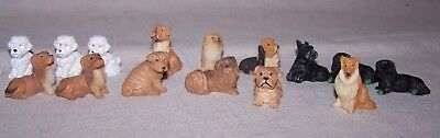 Group of 16 Miniature Carved Dogs Great for Dollhouse