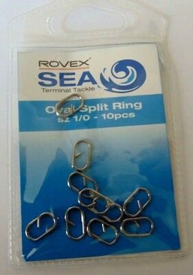 Rovex Oval Split Rings size 1/0 Sea Fishing links Rig Links Lead Links