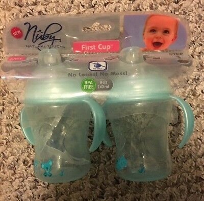 Nuby Natural Touch First Cup Package of 2 BPA Free 8 Oz / 240ML Blue 6 Month+