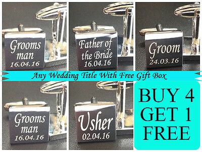 wedding cufflinks favours SILVER SQUARE PERSONALISED mens shirt  MO1A