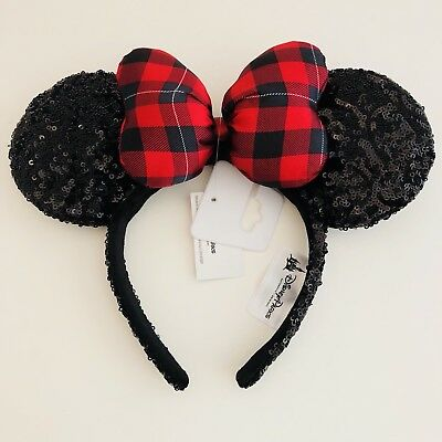 Disney Parks Minnie Mouse Ears Christmas Red Plaid Bow Holiday Headband Sequins
