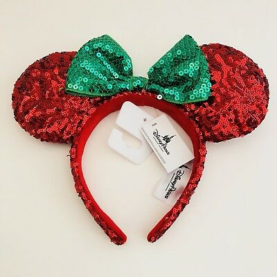 Disney Parks Minnie Mouse Ears Christmas Red Green Sequins Holiday Headband Bow