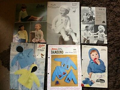 869ca9a2c238 7 VINTAGE KNITTING Patterns For Baby Clothes - £1.30